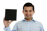 Salesman holding a product, book or other merchandise poster