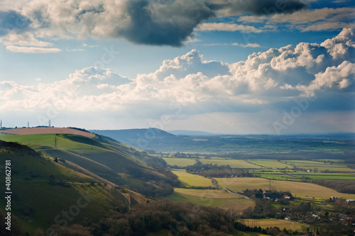 Stunning scene across escarpment countryside landscape with bea