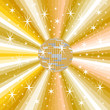 Goldene Discokugel mit abstraktem Hintergrund