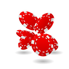 red falling poker chips