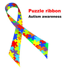 Puzzle ribbon. Autism awareness symbol.