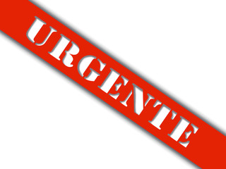 Palavra urgente - faixa vermelha com sombreado
