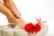 warmes schaumbad für gestresste füsse mit blüte