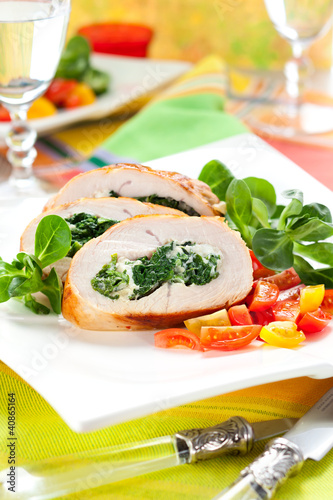 Turkey stuffed with spinach