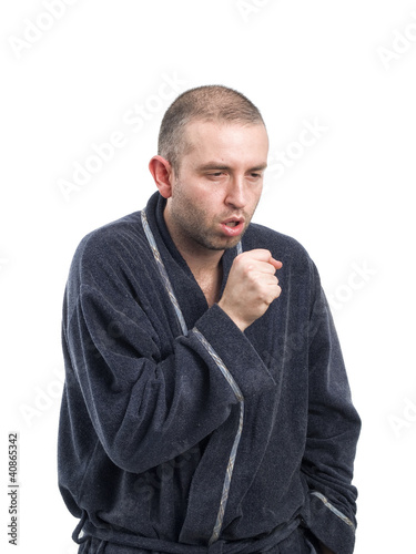 sick man coughing on white background