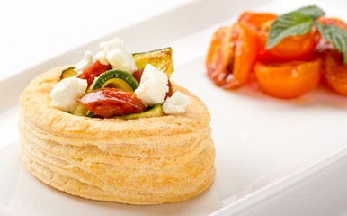 Chorizo, Zucchini and Goat Cheese Tart
