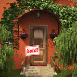 "Door with the ""Sold!"" table"
