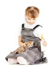 Girl feeding British kitten isolated on white