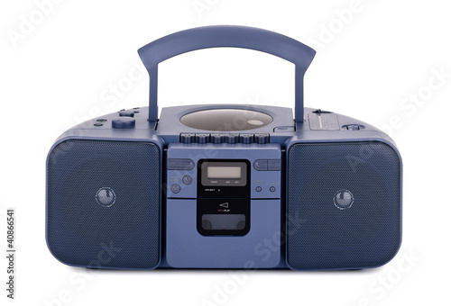 Blue stereo CD radio cassette recorder isolated on white