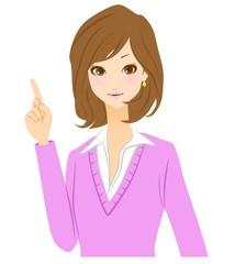 女性 指差し イラスト