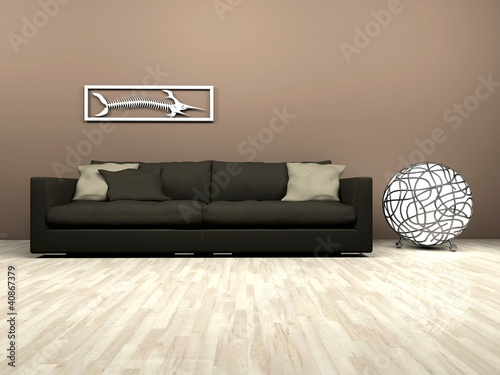 Brown sofa and futuristic lamp in living room