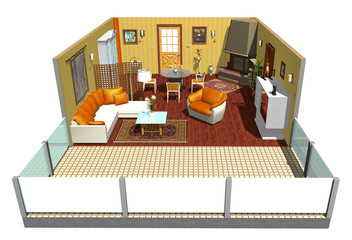 Salotto con Terrazza-Lounge-Living Room with Terrace-3d