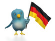 "Blue bird (""Bluebert"") with the flag of Germany"