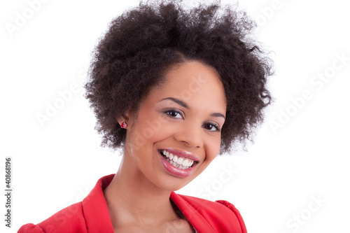 Closeup portrait of a beautiful african american woman