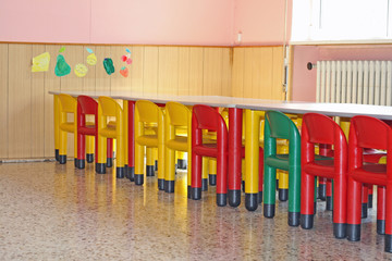 Chairs and tables in a dining hall for a kindergarten