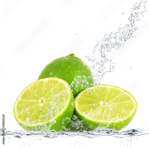 Foto op Canvas Opspattend water lime splash