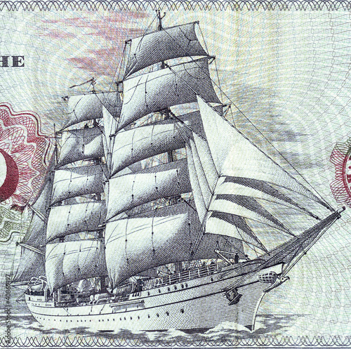 Detail of bank notes in 10 DM 1963.