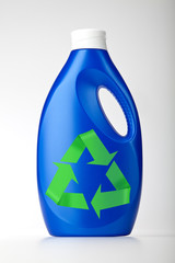 Plastic bottle on white with symbol recycle