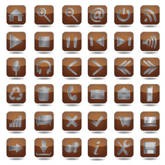 brown web icons set