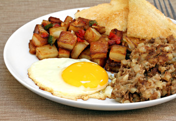 Fried egg, home fries and hash breakfast.