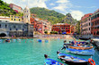 Leinwandbild Motiv Colorful harbor at Vernazza, Cinque Terre, Italy