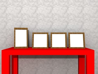 a illustration of a red table with frames