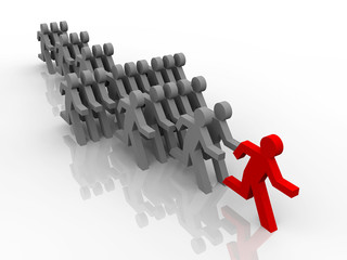 illustration of follow the leader in competition