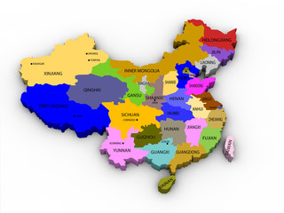 illustration of the provinces of china