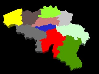 illustration of the belgium provinces map