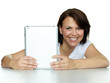 Woman is happy surfing on the internet with touchpad