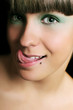 Funny expressive teen girl sticking out tongue