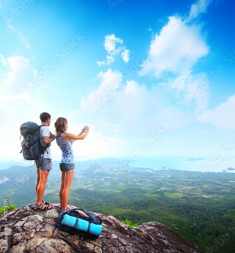 Backpacker on a rock