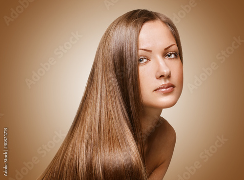 woman with elegant long shiny hair