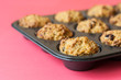Gluten free muffins on roasting pan
