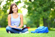Student studying in park