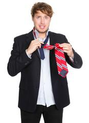 Man tying a tie - funny