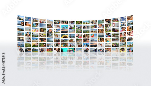 Mur de photos incurvé