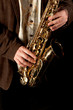 Jazz Saxophone Player, close-up on sax