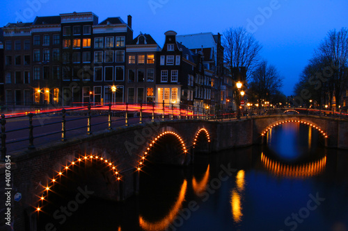 Amsterdam Canal at Dusk with Light Trails