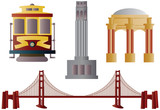 San Francisco Landmarks Illustration poster