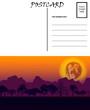 Empty Blank Postcard Template Africa Sunset Motif