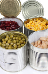 Beans in metal cans