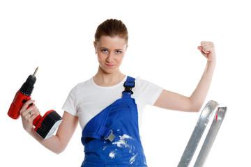 handwerkerin in siegerpose