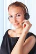 Closeup of a female customer service representative working with