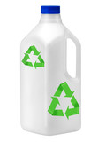 Plastic bottle on white with recycle symbol.