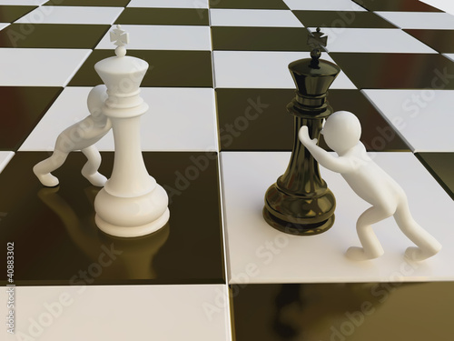Chess Strategy with Chess King Figures in 3D