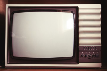 Closeup of old dusty TV set