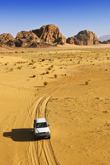 Off road car driving in the desert of Wadi Rum