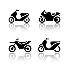 Set of transport icons - motorcycles
