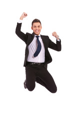 extremely excited business man jumping
